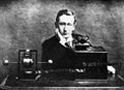 Guglielmo Marconi and his transmitter