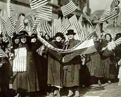 Woman celebrating the passage of the 19th Amendment.