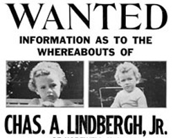 A sign requesting information about the missing Lindbergh baby