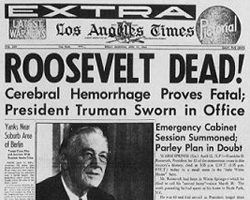 "The frontpage of the Atlanta Journal with the headline: ""Roosevelt Dead"""