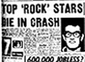 Newspaper headline announcing the deaths of Buddy Holly, Ritchie Valens, The Big Bopper and their pilot