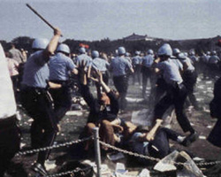 Anti-war protests outside the 1968 Democratic Convention in Chicago degenerated into riots.