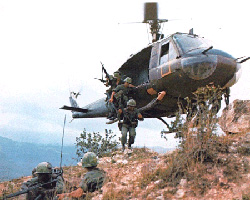 A helicopter lands in Vietnam