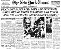 New York Times front page about the Pentagon Papers